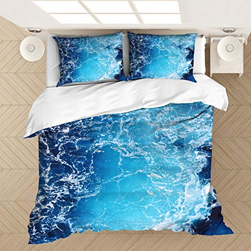 MOUPSDT 3D Printed Duvet Cover Blue ocean waves King size Bedding Set Super Soft Microfiber 3 pcs 1 Duvet Cover 86.7 inch x 95 inch with 2 Pillow covers 50x75cm