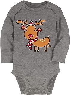 Tstars Reindeer Lights Funny Holiday Christmas Boy Girl Baby Long Sleeve Bodysuit