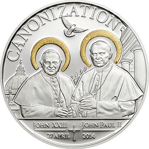 con 60% de descuento Power Coin Canonization of of of The POPES Handmade Gilded Moneda plata 1000 Shillings Tanzania 2014  alta calidad