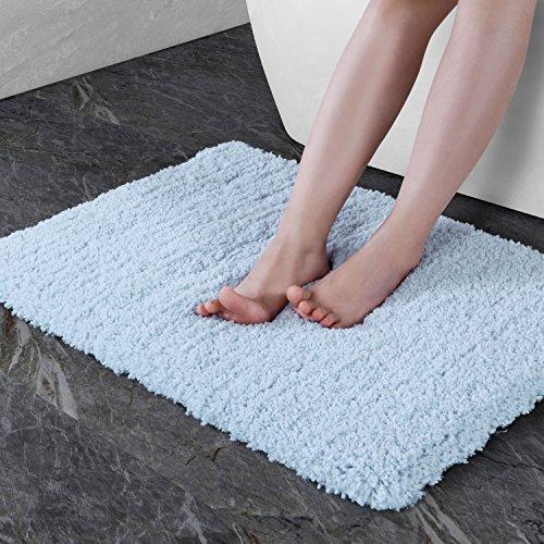 Norcho, Tappetino da bagno, morbido, in microfibra, antiscivolo, antibatterico, in gomma, 45x70cm Hellblau, 45 x 70 cm