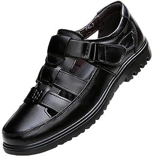 [WEWIN] ビジネスサンダル メッシュ メンズ 革靴 軽量 本革 スリッポン ベルクロ ドライビング オフィスサンダル 職場用 カジュアル 通気性 蒸れない 防臭 防滑