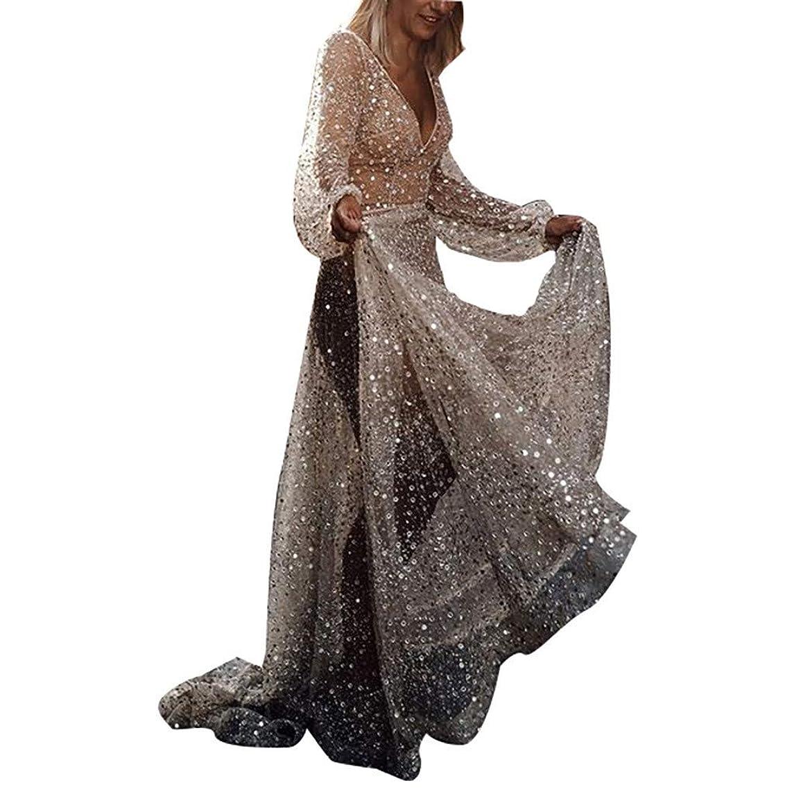 Sparkly Dress??Fashion Women Sequin Lace Wedding Dress Floor Length Dress Sleevless Long Maxi Dress Elegant