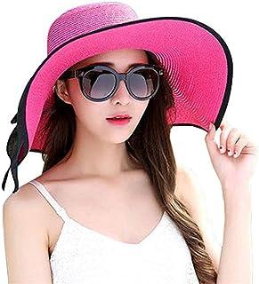 TYTZSM Floppy Beach Hat para Mujeres Sombrero de Paja de ala Grande Sombreros para el Sol Enrollables UPF 50+ (Color : Pink)