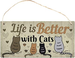dngile Life is Better with Cat Wooden Pet Tag Cat Accessories Lovely Friendship Animal Sign Plaques Rustic Wall Decor Home...