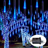 JMEXSUSS Waterproof LED Falling Rain Lights 50cm 8 Tube 288 LED Christmas Meteor Shower Lights Outdoor Drop/Icicle Snow Falling String Lights Plug in for Christmas Tree, Patio,Wedding(Blue)