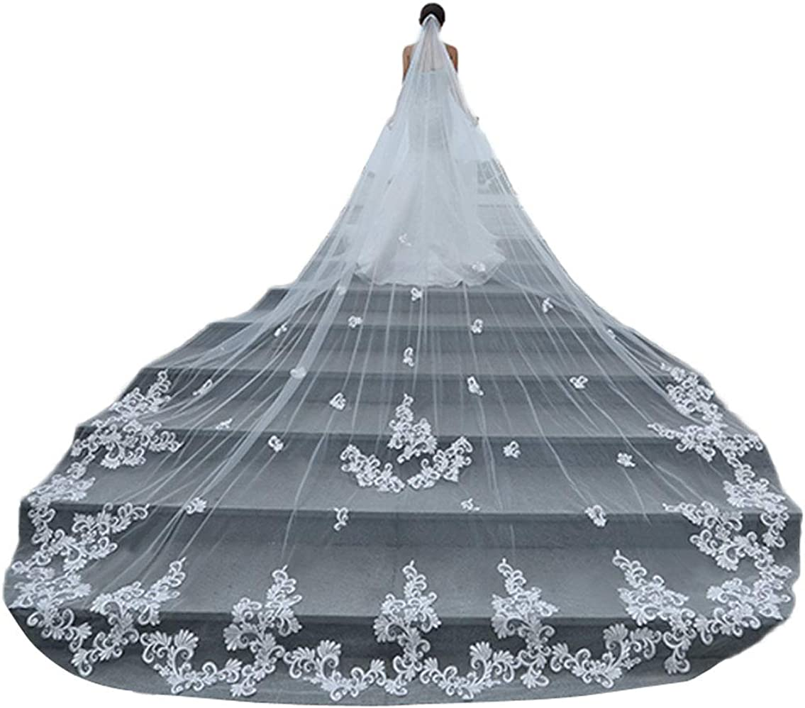 Wedding Veils for Brides 1 Tier Long Train 4m Soft Tulle with Lace Edge