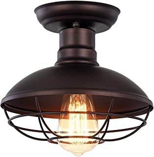 Industrial Barn Ceiling Light - Easric Vintage Metal Mini Cage Cover Pendant Lighting Rustic Semi Flush Mounted Dome/Bowl Shaped Lamp for Kitchen Aisle - Oil Rubbed Bronze