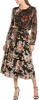 Womens Long Sleeve Floral Velvet Burnout Dress