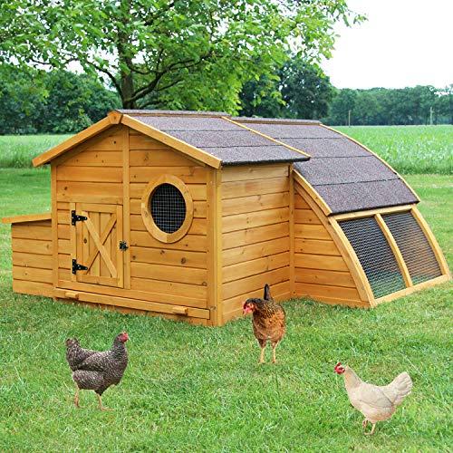 zooprinz Design Hühnerstall mit Bullaugen - aus massivem Vollholz und stabilem Draht - Hühner-stall mit Nistkasten schnell zu reinigen - witterungsbeständig Dank hochwertiger Lasur