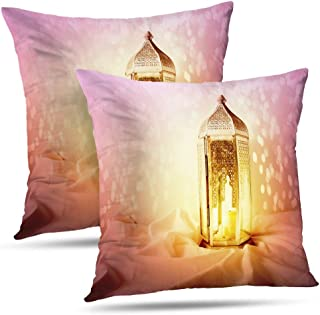 LALILO Glam Pillow Covers, Ornamental Silver Moroccan Arabic Lantern Linen Burning Candle Glittering Double-Sided Pattern Pillowcase for Decoration Sofa Cushion Home Bed 18x18 inch