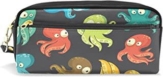 ALAZA Colorful Octopus Pencil Case Zipper PU Leather Pen Bag Cosmetic Makeup Bag Pen Stationery Pouch Bag Large Capacity
