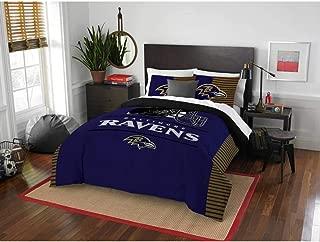 3 Piece NFL Ravens Comforter Full Queen Set, Purple Multi Football Themed Bedding Sports Patterned, Team Logo Fan Merchandise Athletic Team Spirit Fan, Polyester, For Unisex