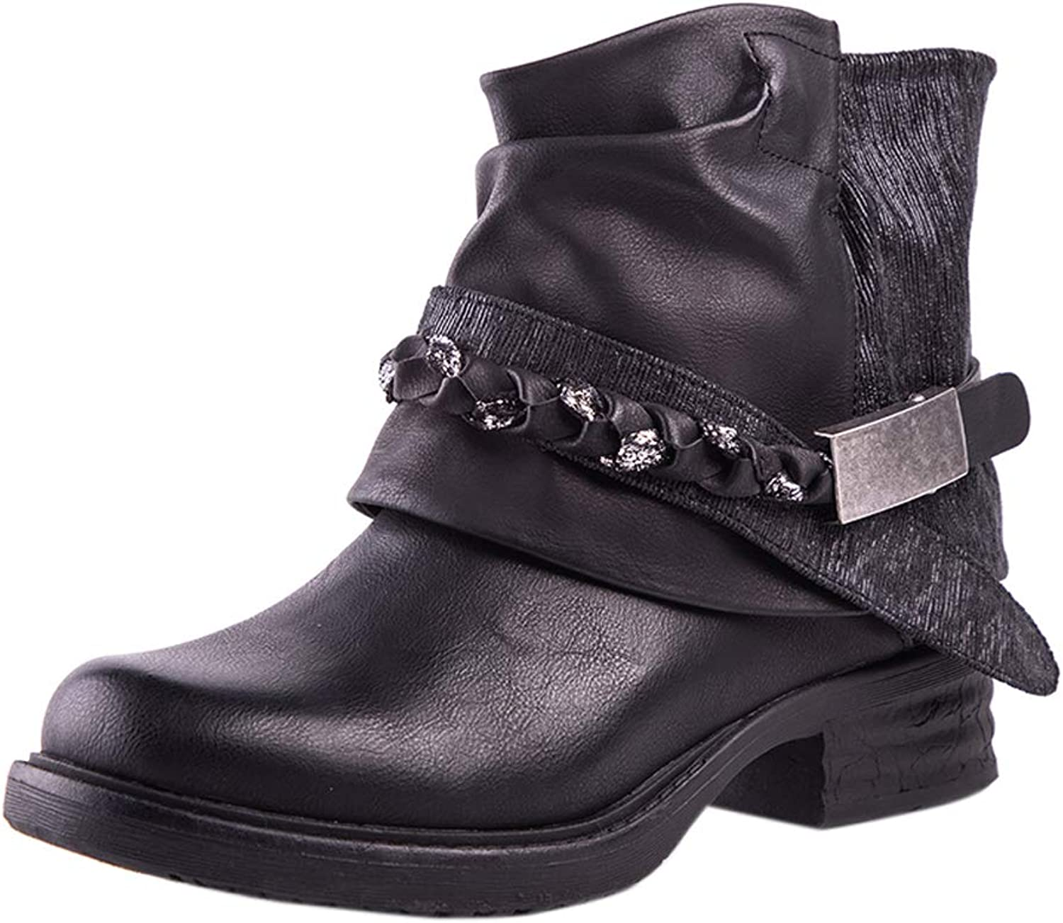 Women Black Leather Ankle Boots Low Heel Round Toe Combat Biker Boots Ladies Short Casual Booties shoes