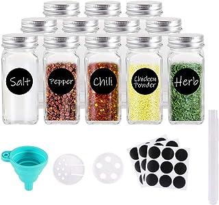 Gifort Botes de Especias Cristal, 12PCS Tarros de Vidrio Cuadrados para Especias 120ml con Etiquetas, Tapas Herméticas y Embudo, Organizador de Cocina para Especias y Hierbas
