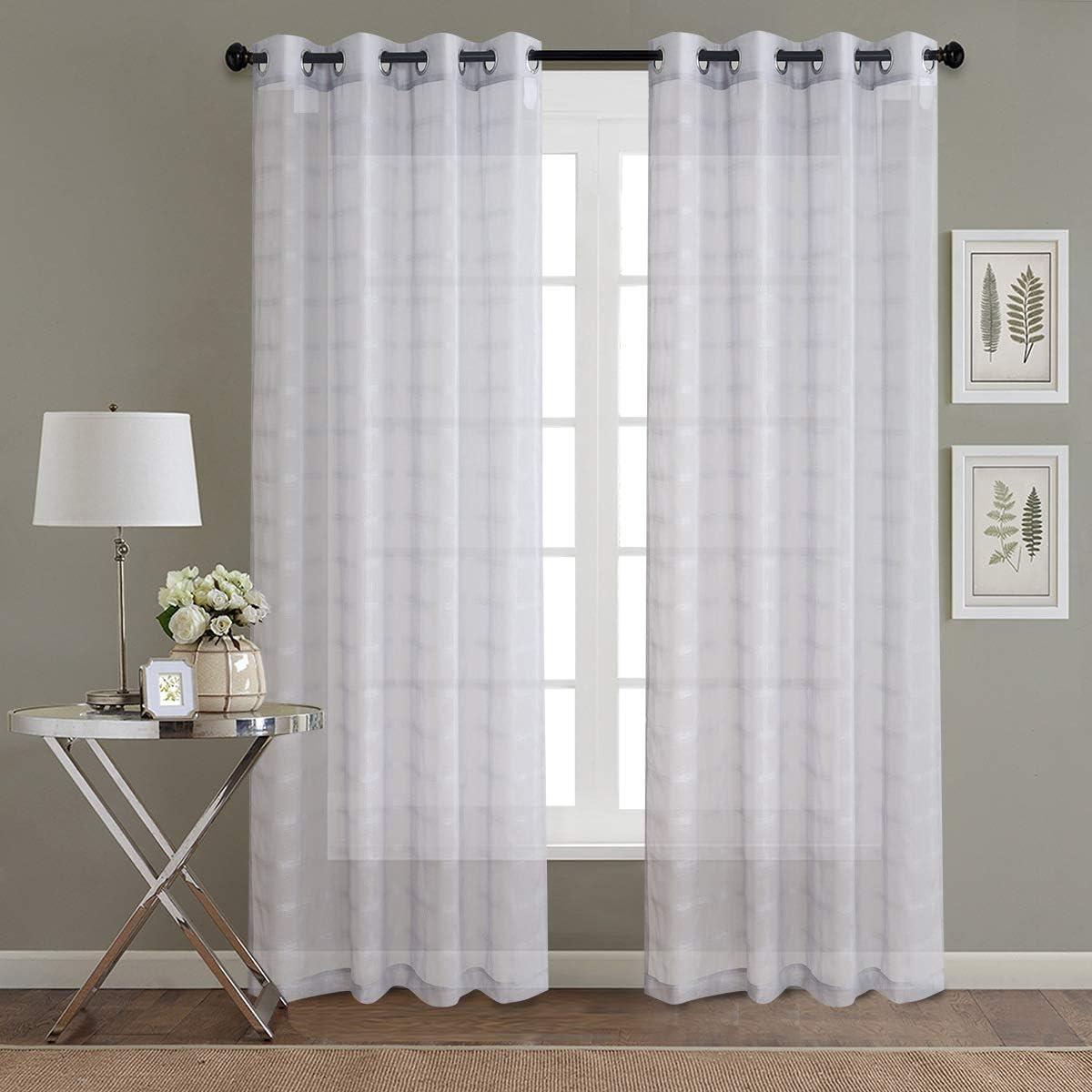 Gxi Grey Linen Sheer 新作送料無料 Curtains Lattice Living Room for Tu 卓越 Grommet