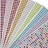 Adesivo Strass, Adesivi Fogli di Perline Multicolor autoadesivi per scrapbooking 9 Fogli/ 4536PCS Rotondi Gemme di Cristallo Foglio per DIY Artigianato Abbellimenti Decorazione