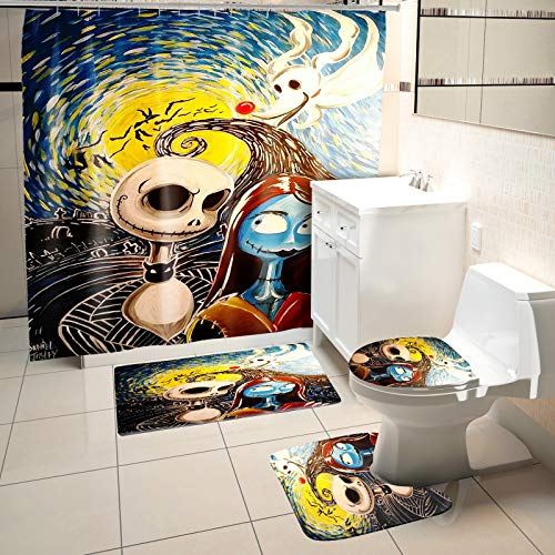 4 Pcs Nightmare Before Christmas Shower Curtain Set with Non-Slip Rug, Toilet Lid Cover, Bath Mat and 12 Hooks, Jack and Sally Durable Waterproof Shower Curtain Sets for Bathroom