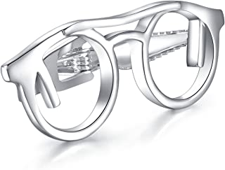Mens Silver Glasses Tie Clip Bar for Normal Size Tie Gift 4.8cm