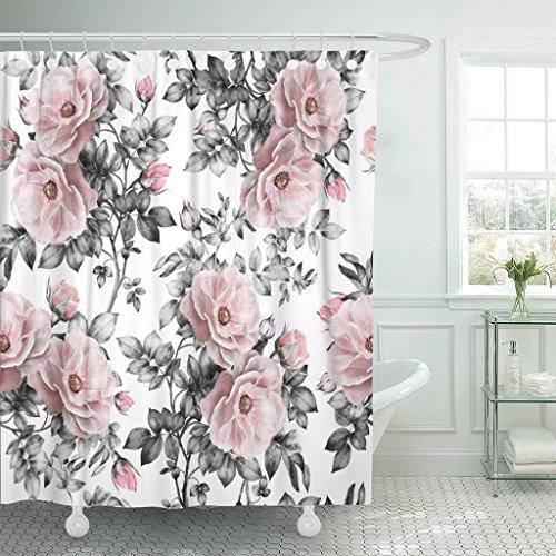 Emvency Duschvorhang, graues Retro, mit rosa Blumen & Blättern auf weißem Aquarell-Blumenmuster in Pastellfarben, wasserdichtes Polyestergewebe, 183 x 183 cm, Set mit Haken