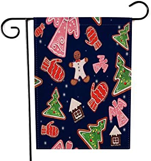 Capsceoll Garden Flag Outdoor 12.5X18 Inch Double Sided Watercolor Pattern Gingerbread Dark Blue Background Christmas Tree Angel Ginger Man House Decorative Yard Flag for Autumn Christmas Christmas