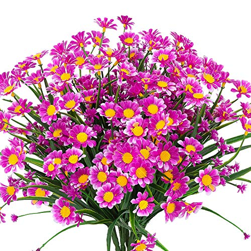 TEMCHY Artificial Daisies Flowers Outdoor UV Resistant 4 Bundles Fake Foliage Greenery Faux Plants Shrubs Plastic Bushes for Window Box Hanging Planter Farmhouse Indoor Outside Decor( Magenta)