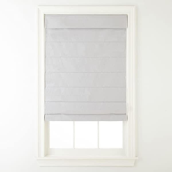 Cordless Fabric Roman Shade Light Gray 35x64