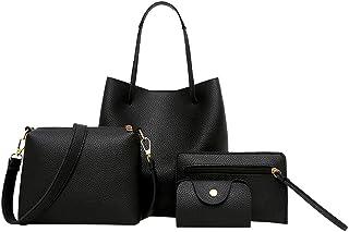 Handtasche Damen,Schultertasche Designer Tragetasche 2/4-teiliges Henkeltasche Set,Handtasche+Umhängetasche+Brieftasche+Ka...