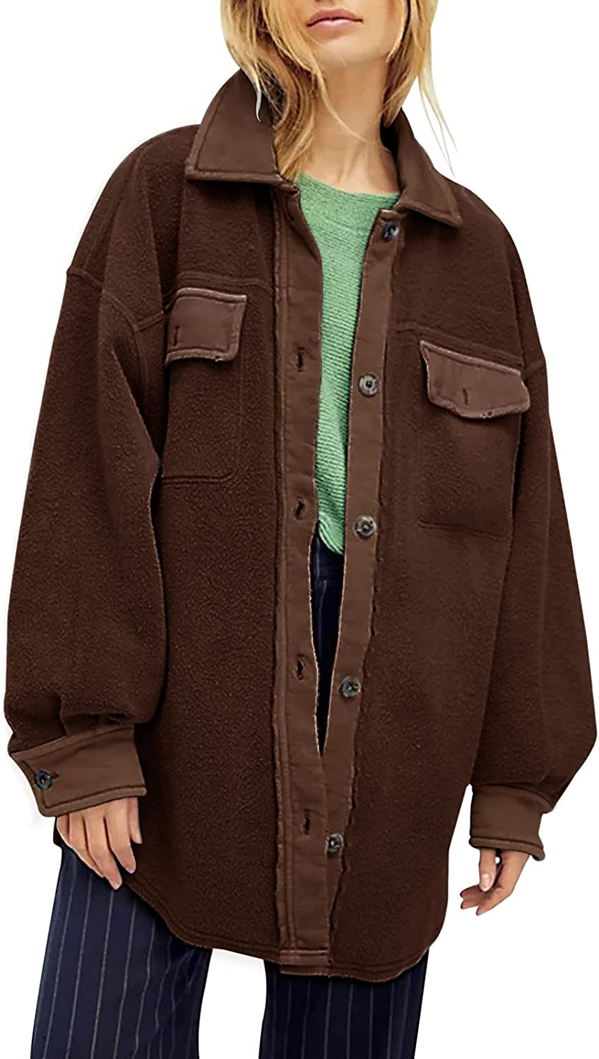 Womens Oversized Long Sleeve Button Down Jacket Fall Winter Soft Comfy Casual Shacked Coats with Pockets