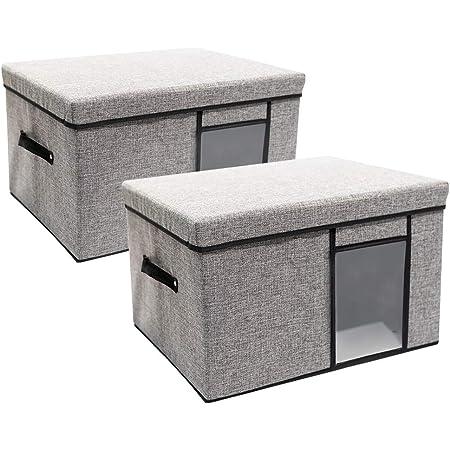 収納ケース 大容量 収納ボックス 棉・麻+不織布 透明窓 折り畳み 取っ手付き 蓋付き 整理ボックス 洗える 防塵 防湿 無臭 綿麻 大容量 高耐久性 ハンドル付き 衣類 おもちゃ 書類 グレー 2つセット (62L)