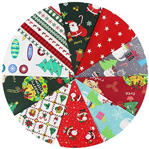 aufodara 10 piezas Navidad Tela Algodon Telas Patchwork 50x80cm 40x50cm 25x 25cm Algodón Para Coser DIY Telas...