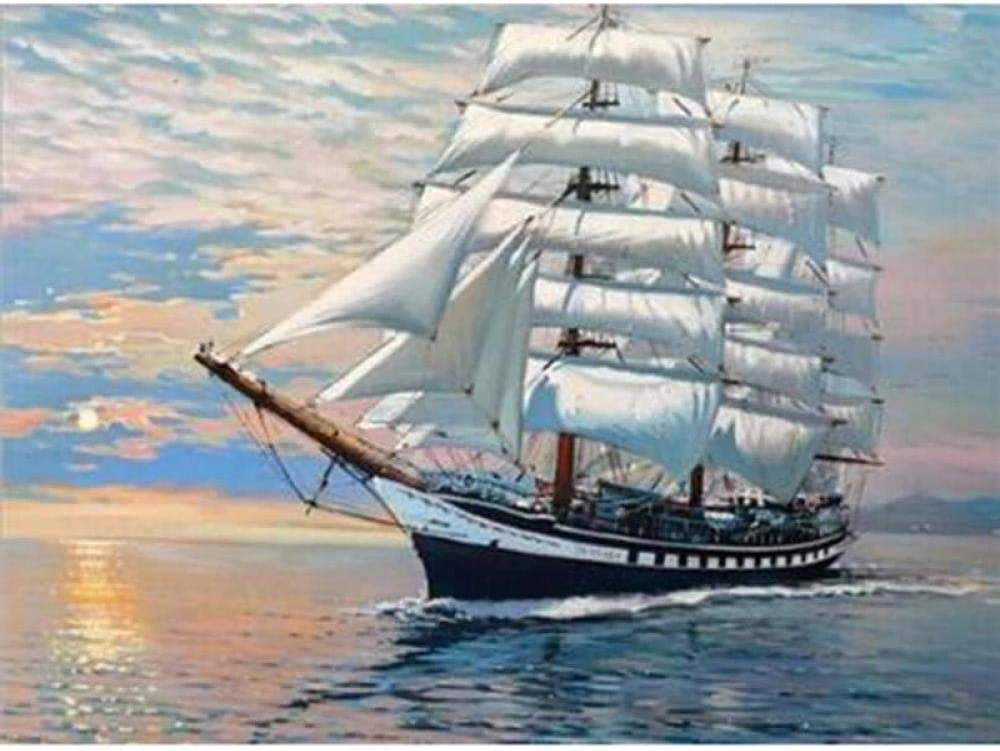 LZMAXY DIY 5D Special Campaign Diamond Painting Direct stock discount Ship Sailing Rhinestone Kit Embro