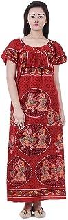 Apratim Womens Nighty Nightwear Gown Cotton Maxi Dress Sleepwear Nightgown Bikini Cover Beachwear Red