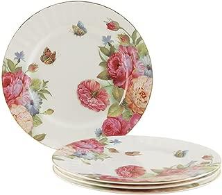Gracie Bone China 7-1/2-Inch Dessert Plate, Pink Sandra's Rose, Set of 4