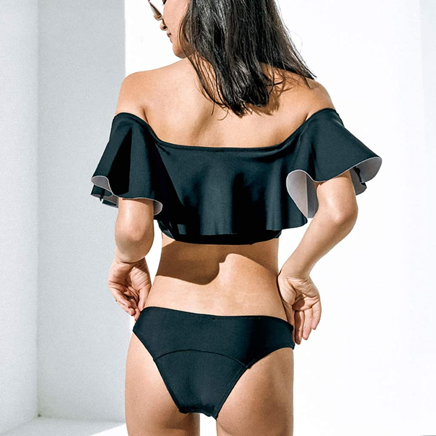ZXCC Black Swimsuit Female, Conservatively Gathered Ruffled Split Beach Swimsuit (color  Black) (color   BLACK, Size   L)