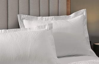 Courtyard by Marriott Textured Pillow Sham - 1 Decorative Pillow Sham with Wash-Activated Ripple Texture Exclusively for Courtyard Hotels - White - King (20