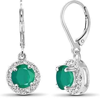 0.90ctw Genuine Emerald Gemstone and White Diamond Accent Sterling Silver Halo Earrings