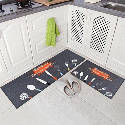 Carvapet 2 Piezas Alfombras Cocina Lavable Antideslizante Alfombrilla de Goma Alfombra de Baño Alfombrillas Cocina (Cocinar Gris)