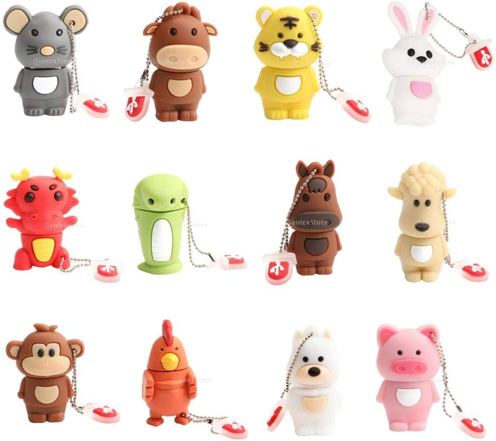 Popular Baosity 12 Pack 128MB Cute Creative Popular brand Animal Desi Chinese Zodiac