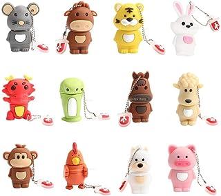 D DOLITY 12pcs 128MB Chinese Zodiac Cute Cartoon Animals USB Flash Drive Memory Stick (Rat Ox Tiger Rabbit Dragon Snake Ho...