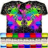 individuall Craft Textile & Fabric UV Paint - Juego de 8 pinturas de tela neón negro claro – Colores fluorescentes para ropa – Pinturas brillantes vibrantes – 8 x 20 ml / 20,7 ml