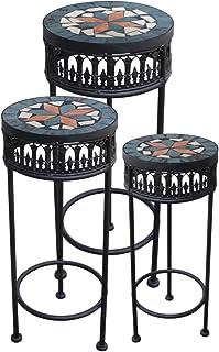 color negro dise/ño de mosaico PrimoLiving Juego de 3 taburetes y mesas auxiliares