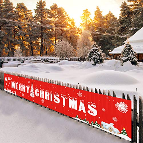 Merry Christmas Banner Decorations Outdoor, Large Christmas Yard Decorations Hanging Sign for Home Party