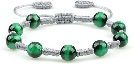 Parel Armband Groene Tijgeroog Parels Gevlochten Armband Trendy 8mm Natuurlijke Steen Handgemaakte Mannen Vrouwen Verstelb...