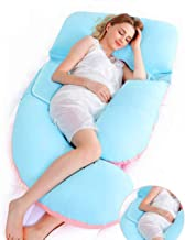 Tomybaby Full Body Adjustable Pregnancy Pillow-55Inch G Shaped Maternity Pillow-Belly Position Gentle Slope Support Pillow, Detachable Cotton Cover Nursing Pillows(BluePink)