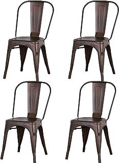 BenyLed Lot de 4 Chaises de Salle à Manger Empilables en Métal Style Industriel Vintage, Convient pour Une Utilisation Int...