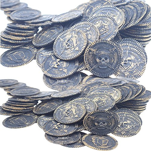 Warmtree toy 100 Pcs Pirate Treasure Coins for Party Supplies Props Decoration (Bronze)