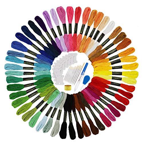 Hilos para Bordar 50 Madejas y 25 Herramientas de Bordado Hilo de Colores Hilo de Coser para DIY Crafts (50 colores)