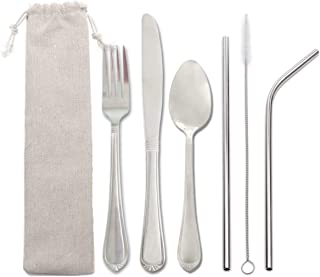 Travel Camping Cutlery Set,MEJA Reusable Silverware Set to Go with Case,7 Piece Stainless Steel Portable Utensils Flatware Set including Knife Fork Spoon Cleaning brush Metal Straws,Dishwasher Safe