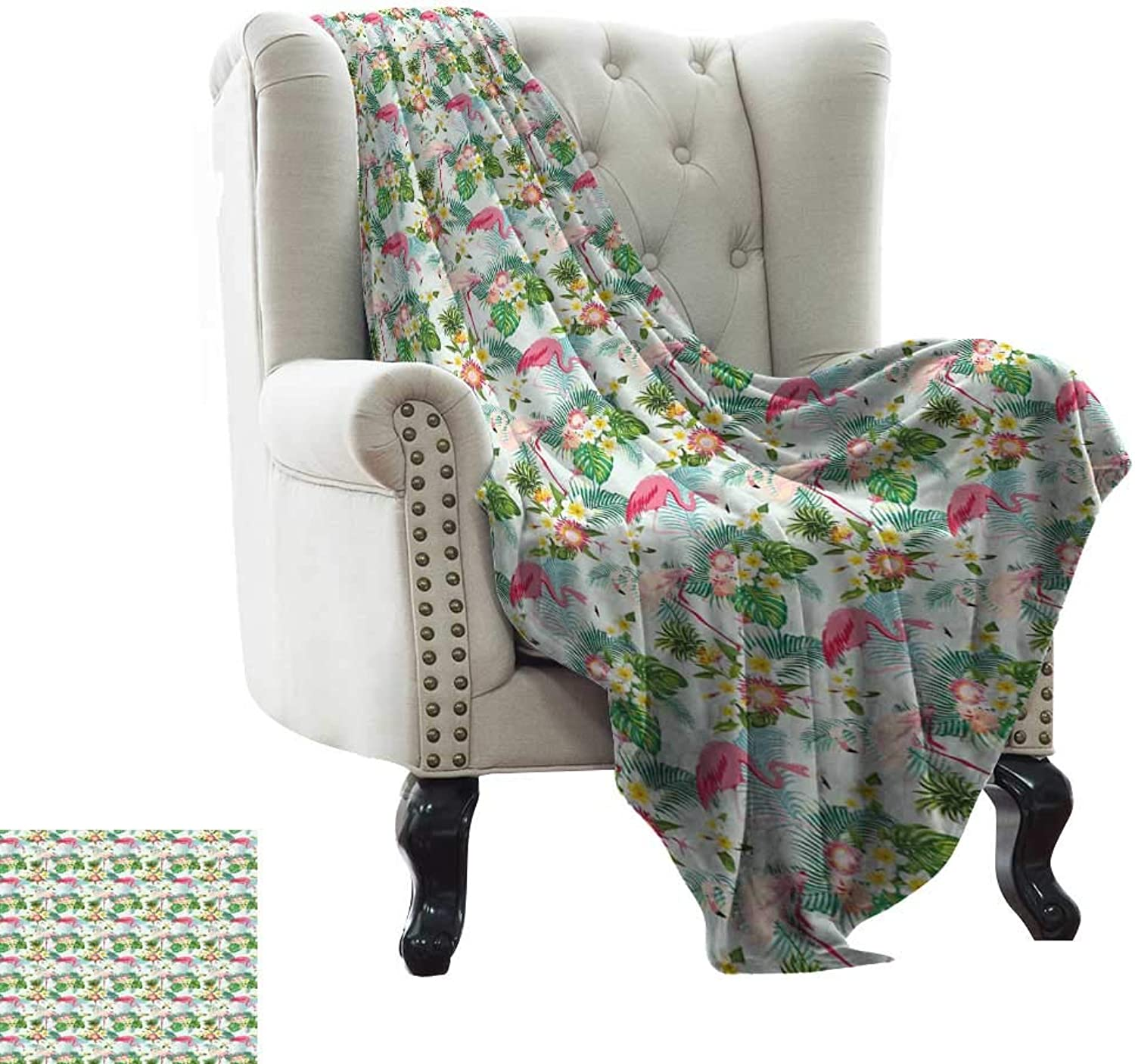 WinfreyDecor Warm Blanket Fresh Exotic Jungle Rainforest Island Climate Wildlife Fauna Leaves and Blossoms Sofa Chair 70  Wx93 L