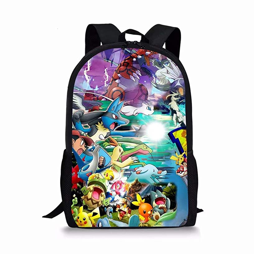 CuMagical Pokemon Middle School Backpack for Elementary School Lightweight Cartoon Kids Book Bag
